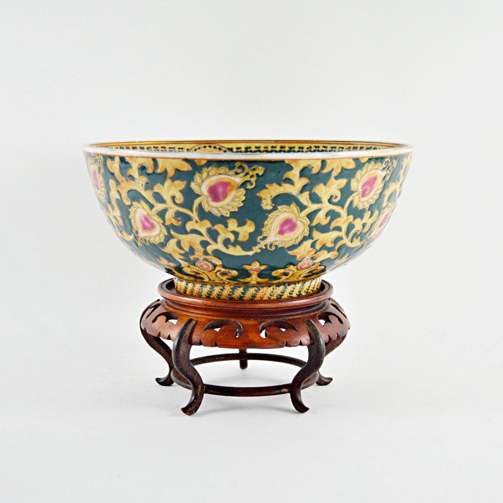 Decorative Chinese Bowl and Stand