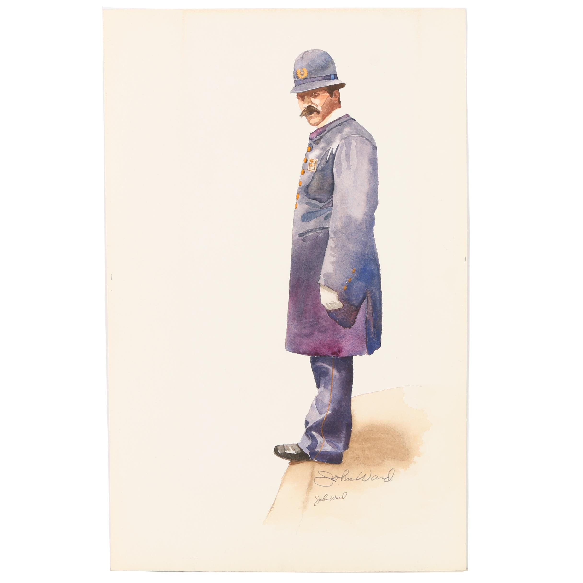 John Ward Watercolor of a Police Officer