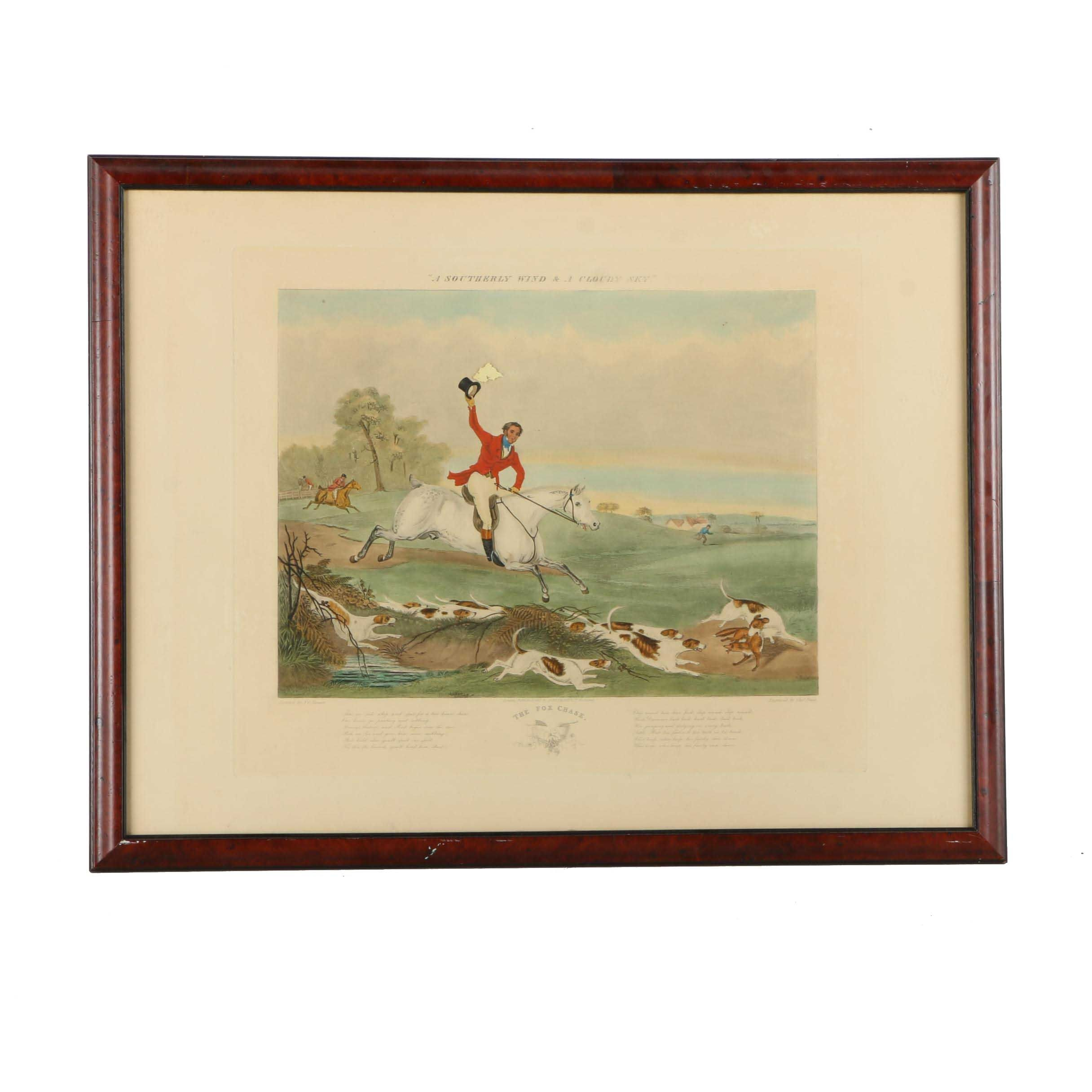 """Hand-Colored Engraving After F. C. Turner """"The Fox Hunt"""""""