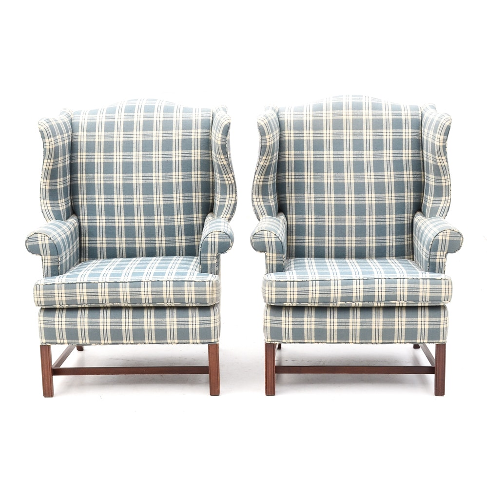 Blue Plaid Wing Back Armchairs