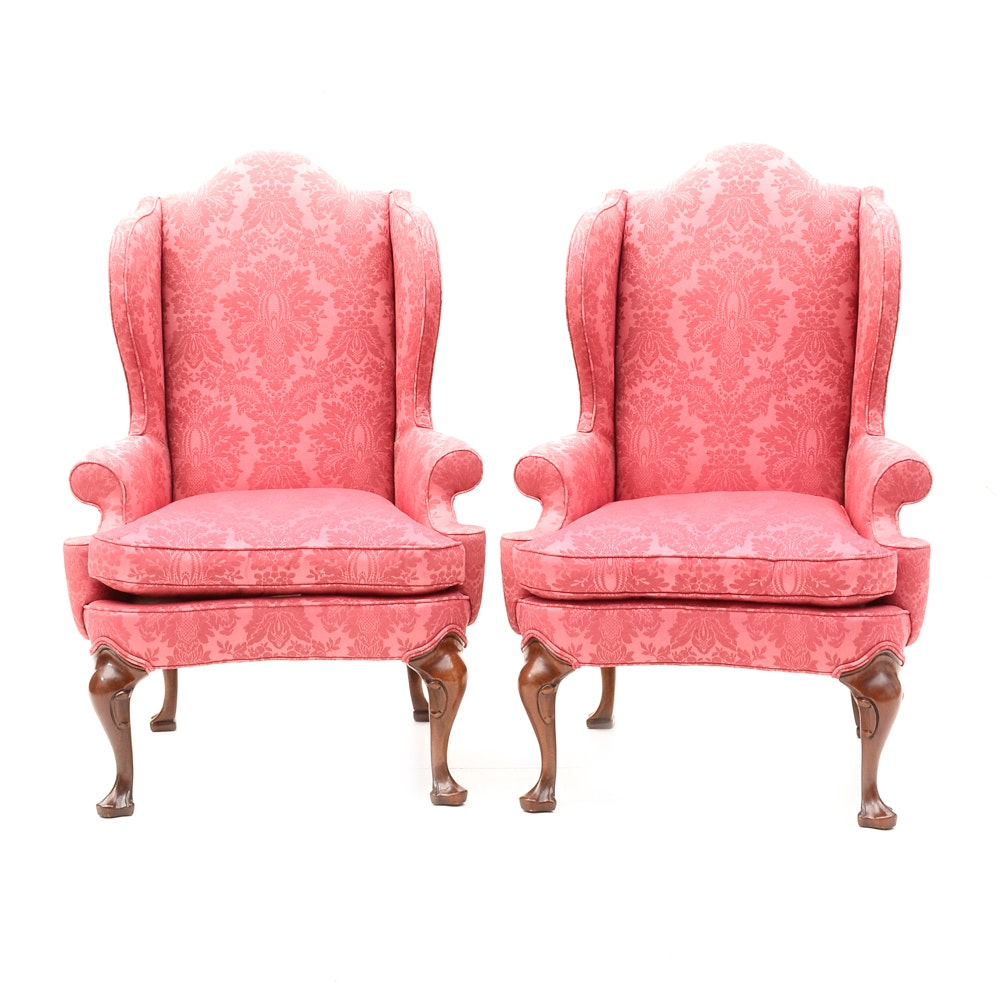 Raspberry Damask Upholstered Armchairs by Hickory Chair Company
