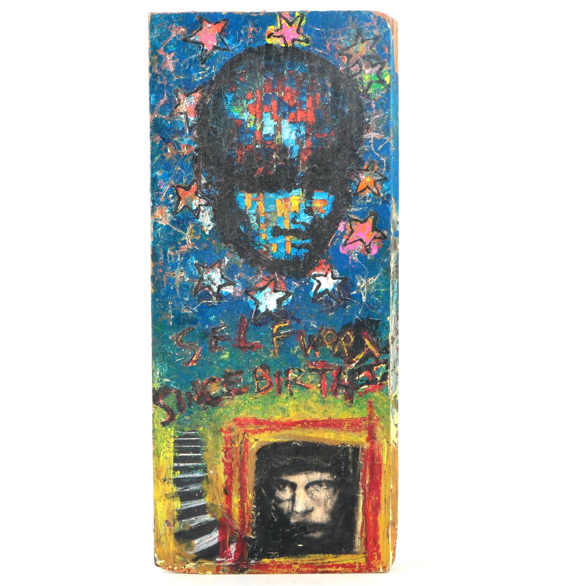 Expressive Mixed Media Painting on Wood Panel