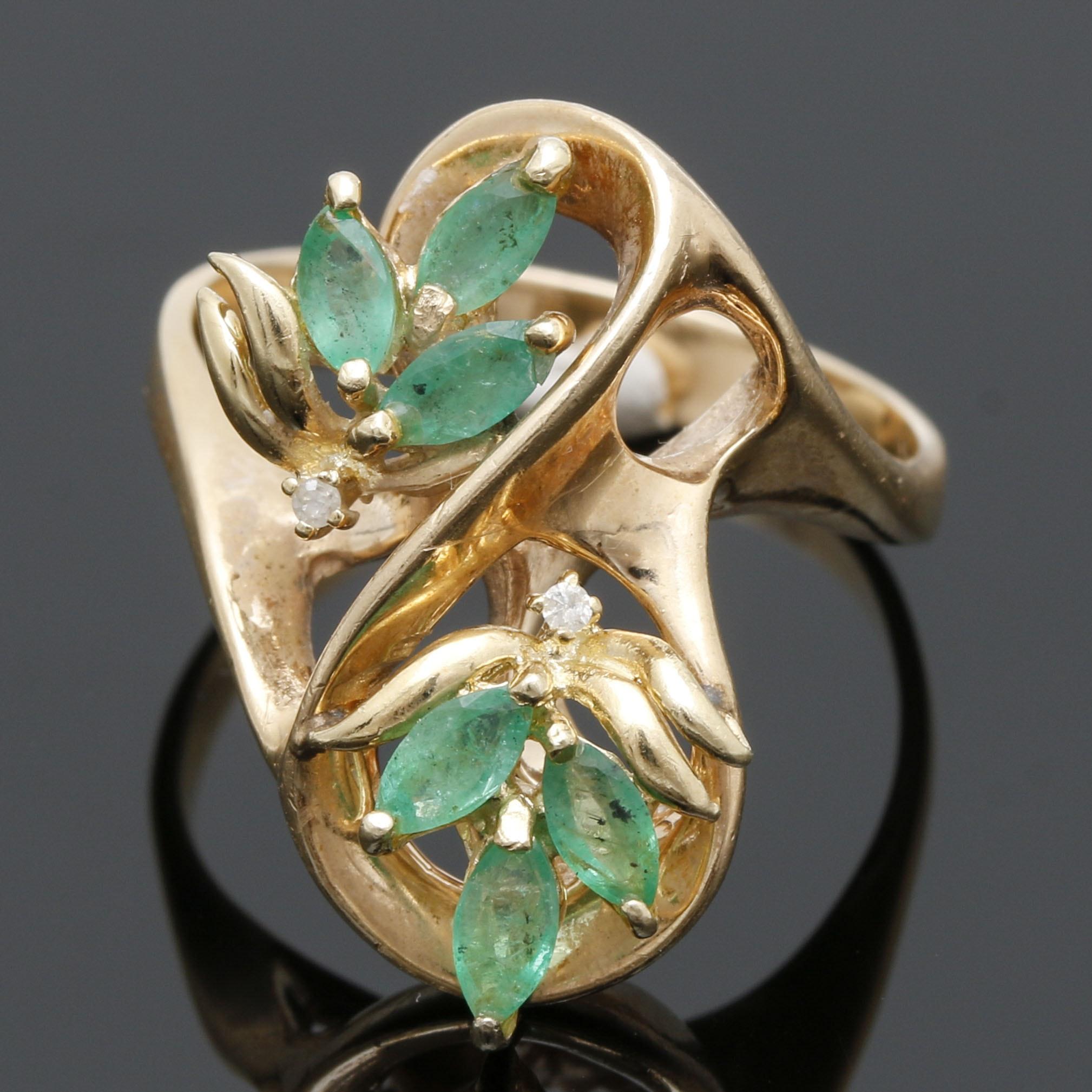 14K Yellow Gold Emerald and Diamond Foliate Ring