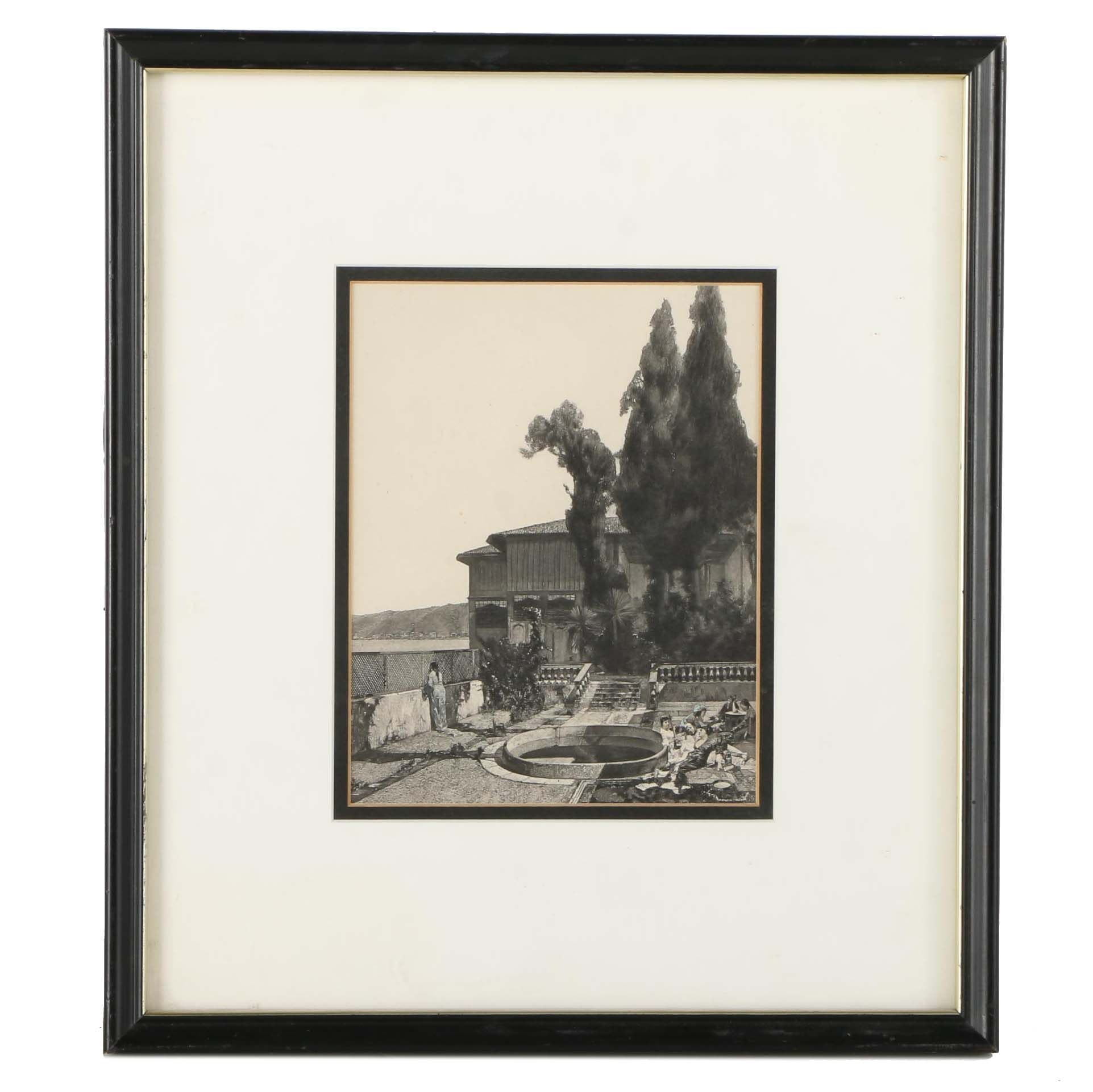 """Hand Colored Lithograph on Paper After Alberto Pasini's """"A Quiet Afternoon in the Yali, Constantinople"""""""