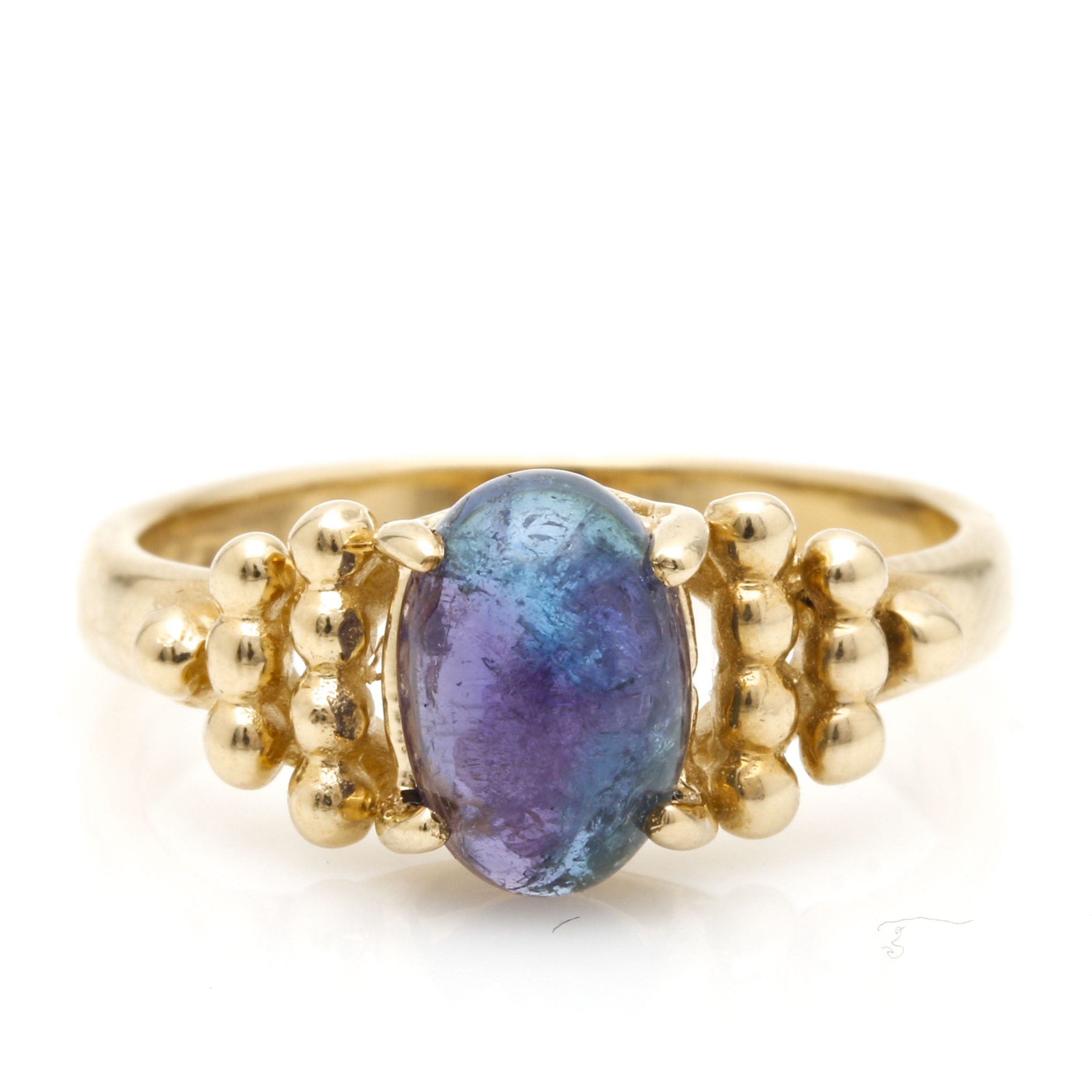 14K Yellow Gold 1.42 CT Parti-Colored Tourmaline Ring