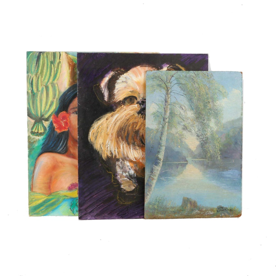 Assortment of three paintings on canvas board ebth for What is canvas board