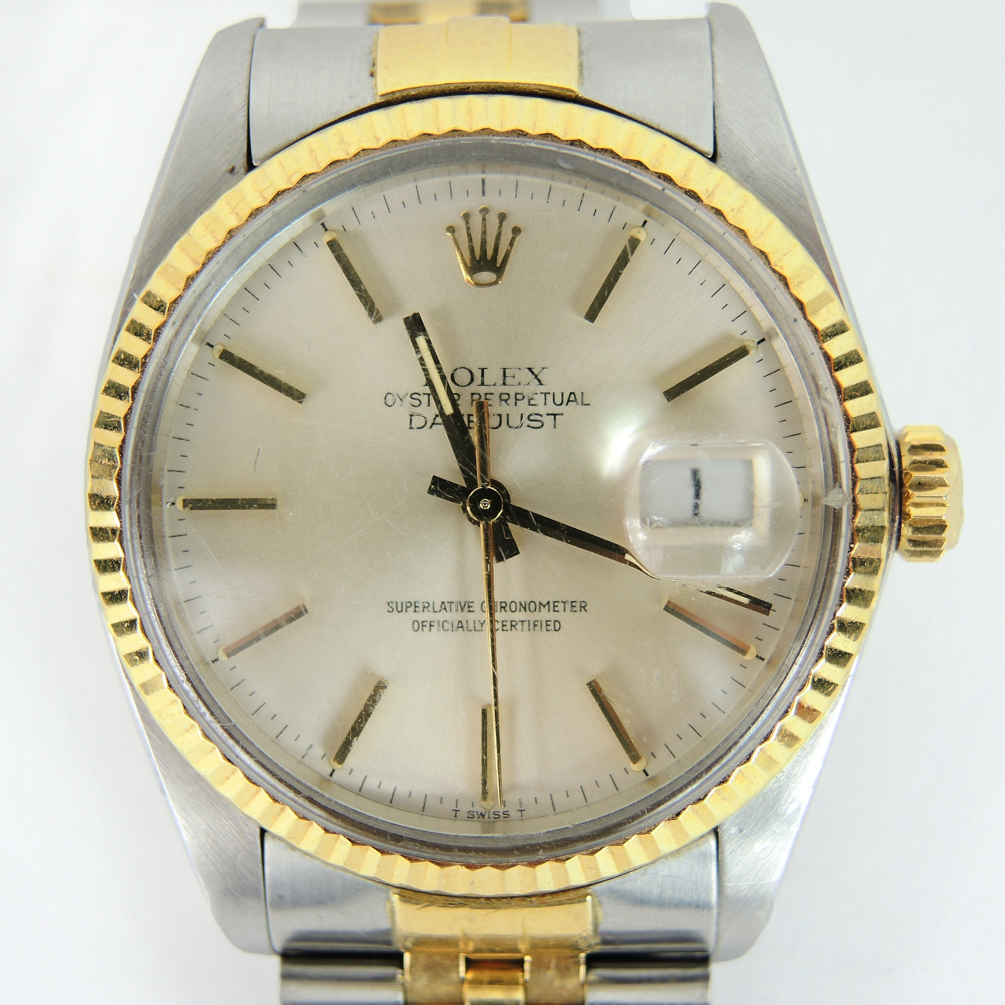 Rolex Datejust 18K Gold and Steel Automatic Wristwatch