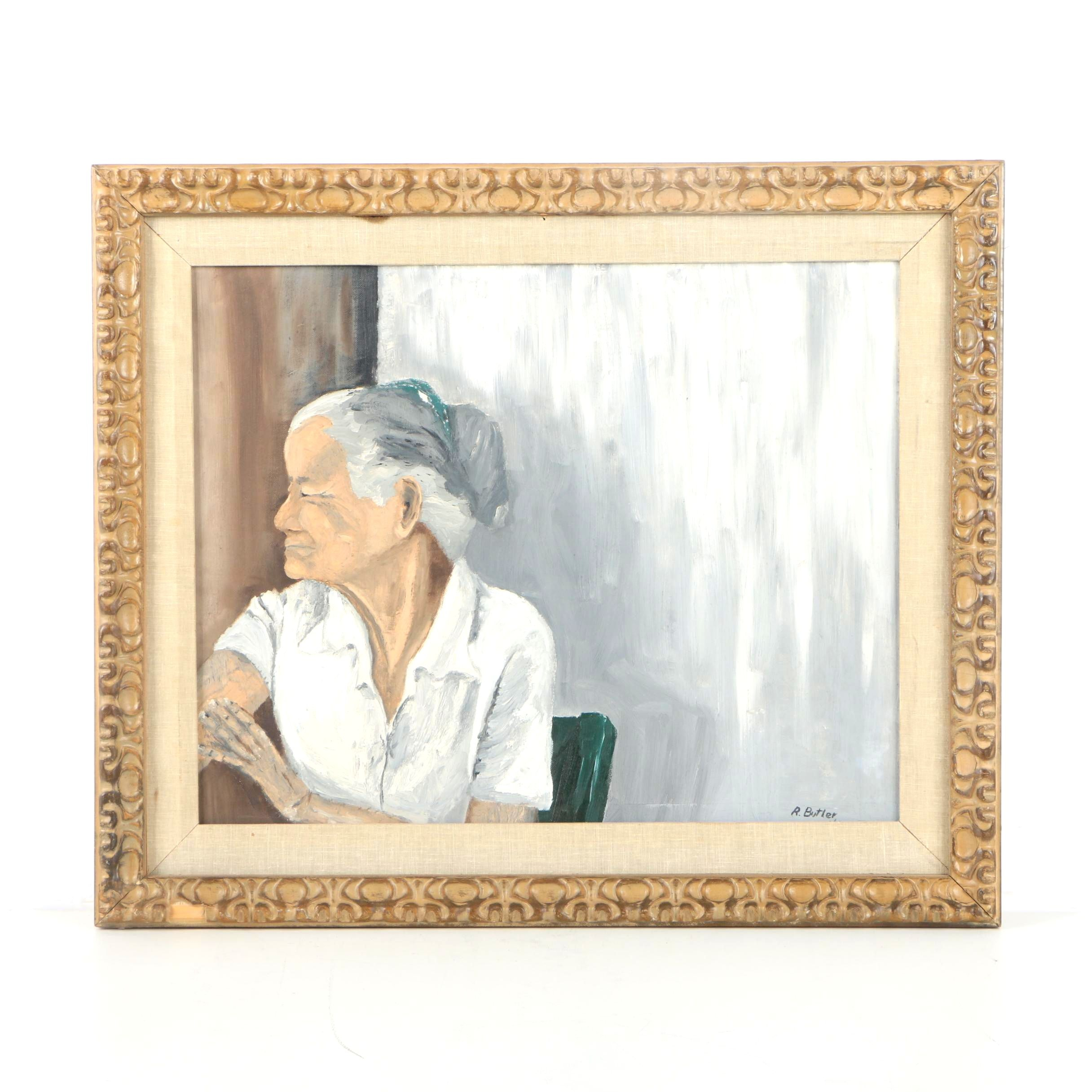 R. Butler Oil Painting of a Gray-Haired Woman