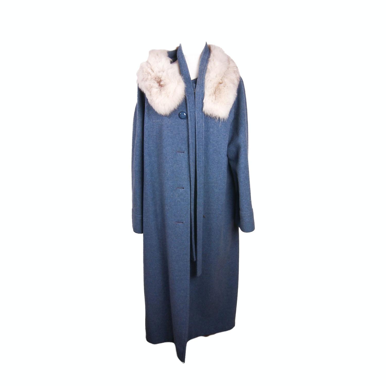 Blue Wool Coat with Fur Collar