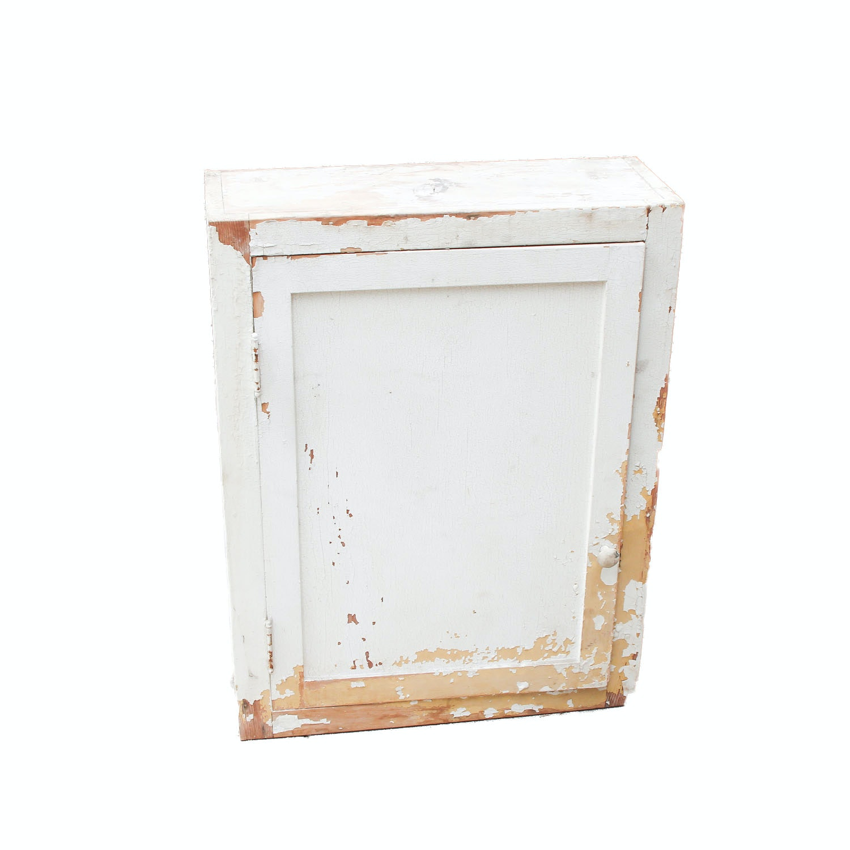 Vintage Distressed Wood Wall Cabinet