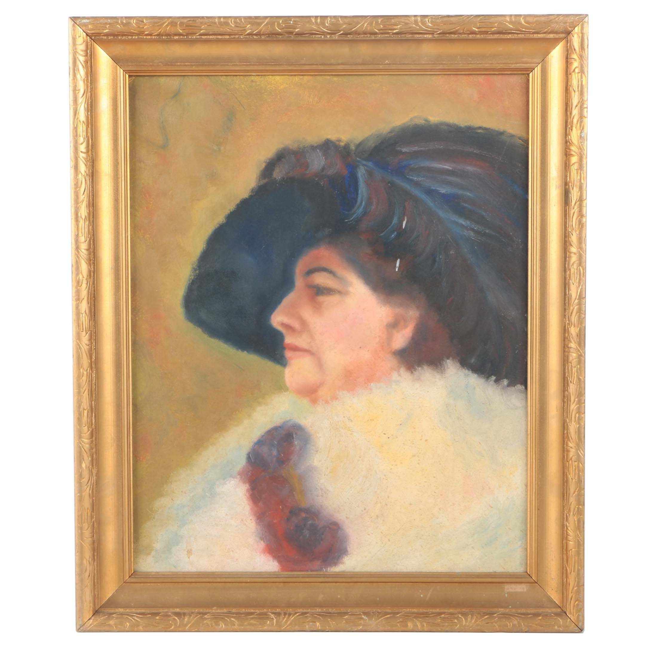 Oil on Canvas Board Portrait of Woman in a Feathered Hat