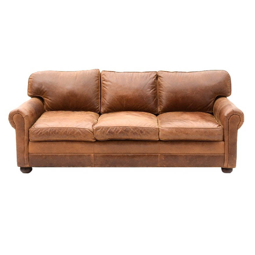 brown leather sofa by old hickory tannery ebth