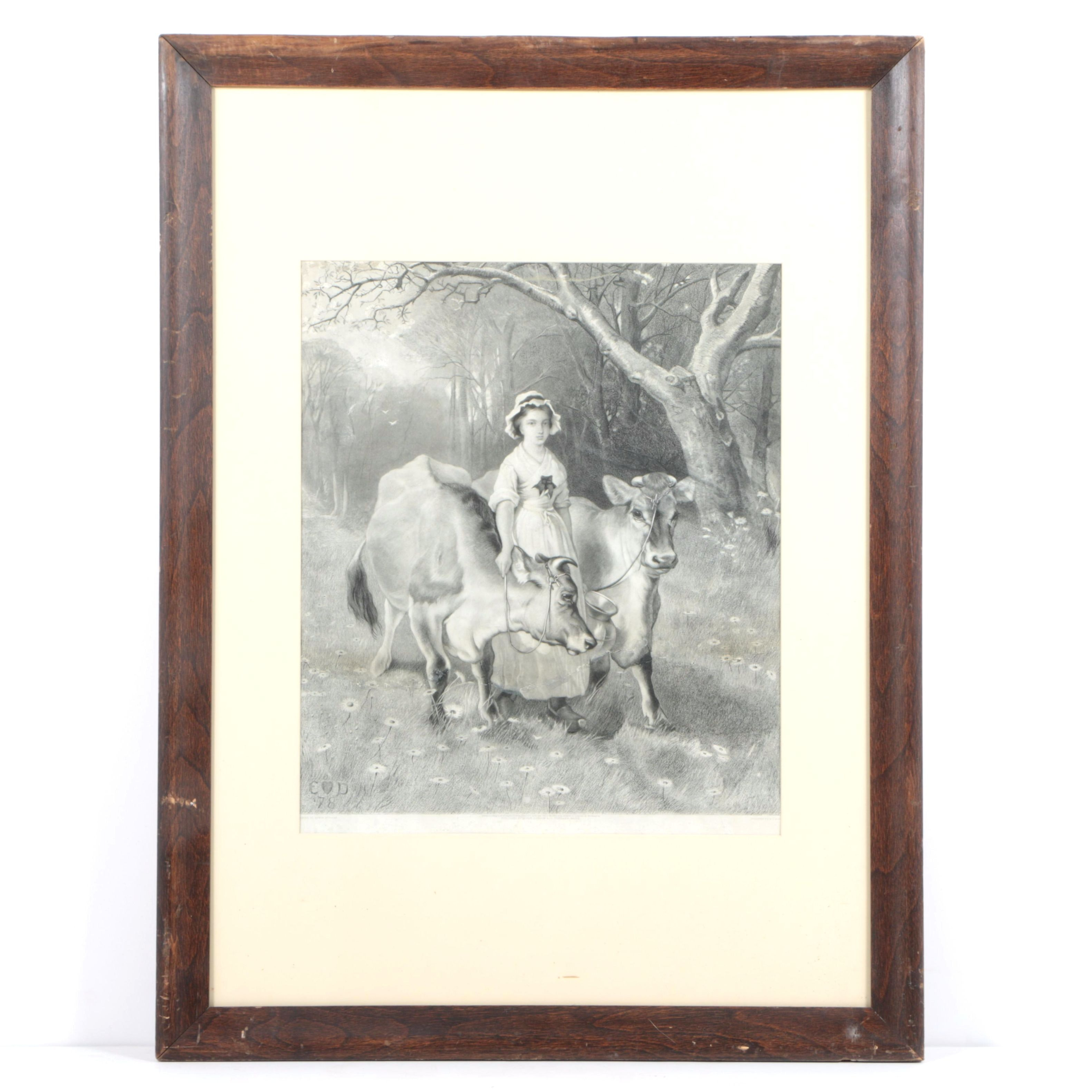Engraving of Girl with Two Cows