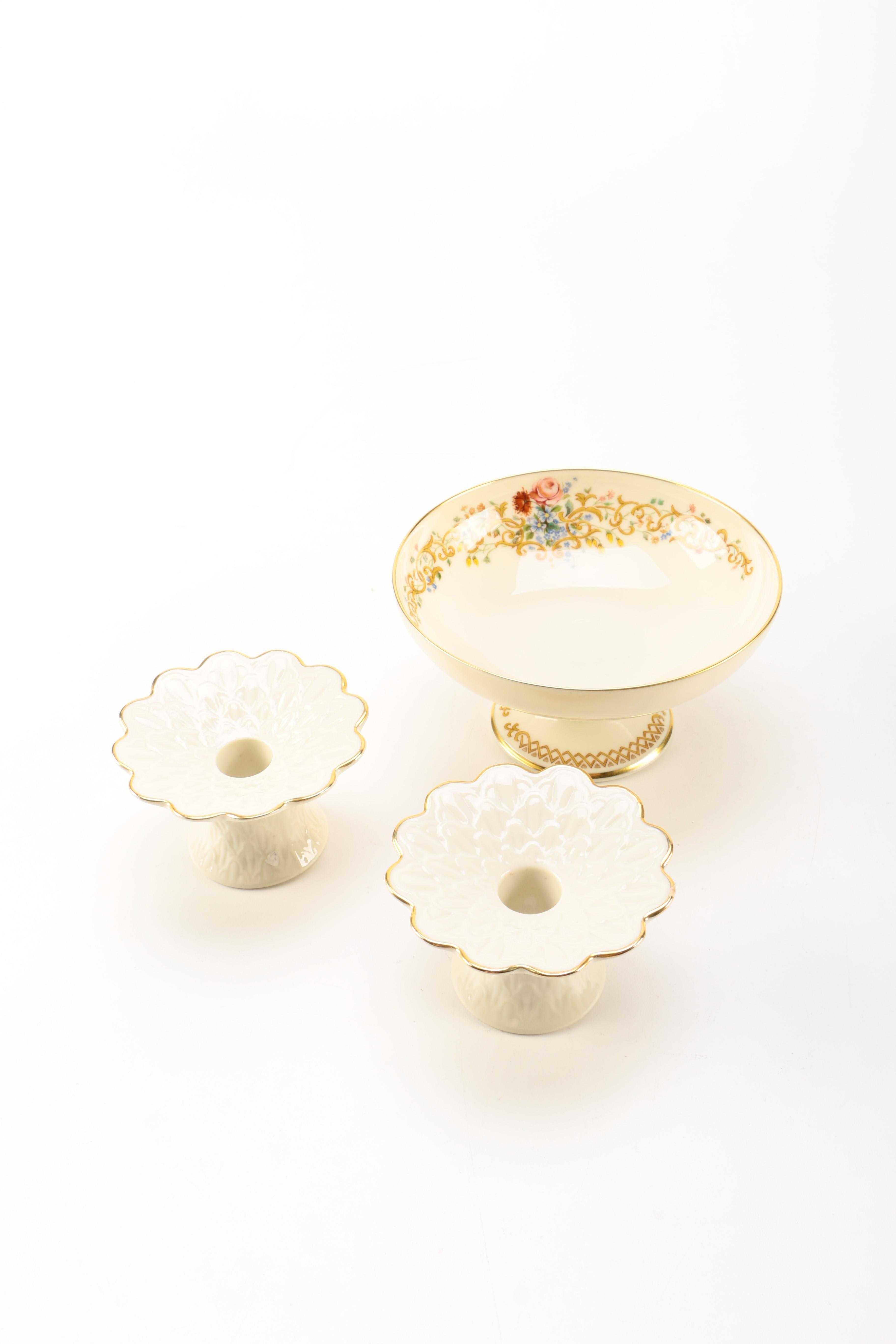 Lenox Pedestal Bowl and Candle Holders
