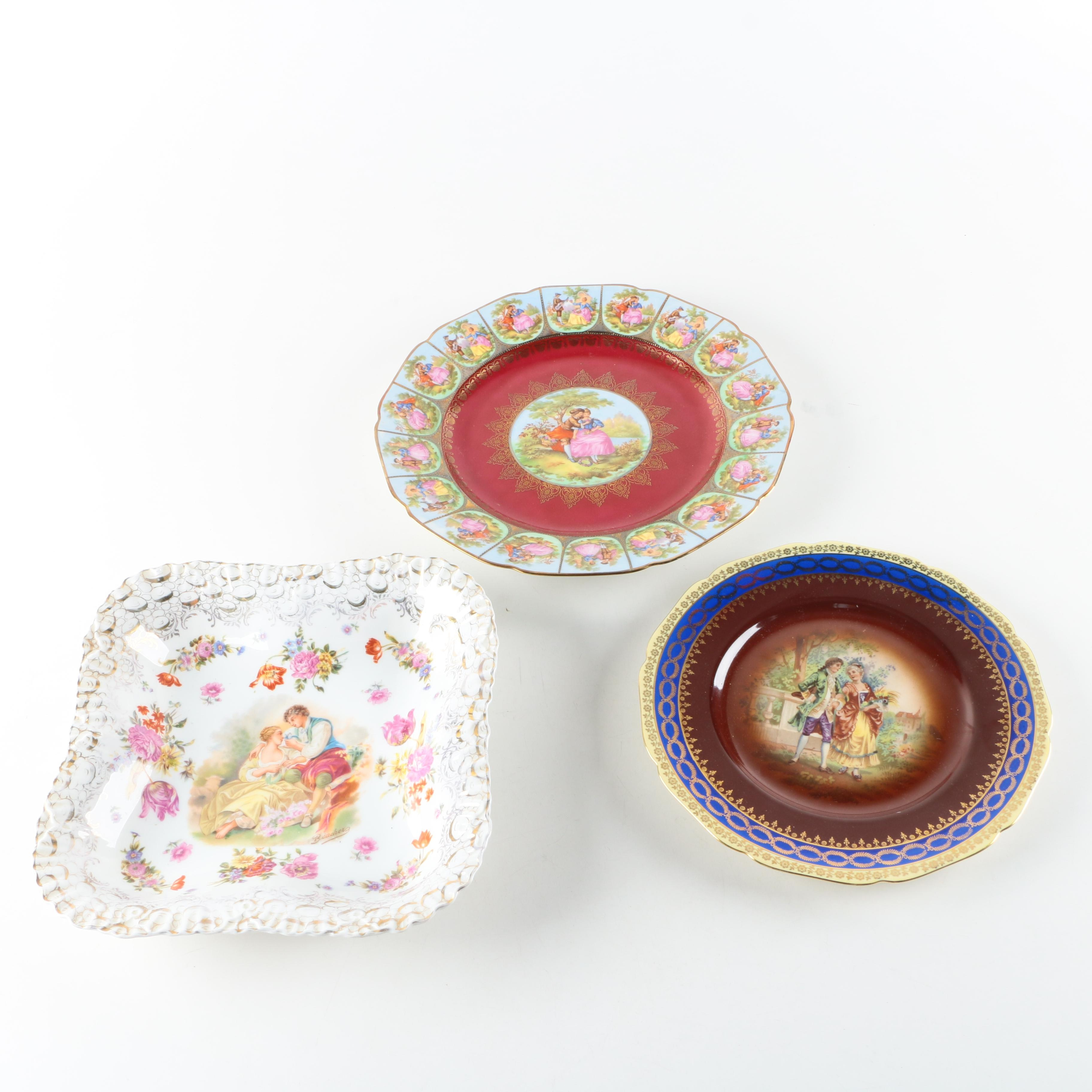 Painted Romance-themed Porcelain Plates