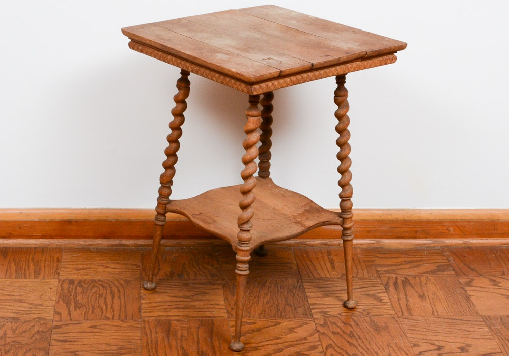 Antique William and Mary Style Oak End Table