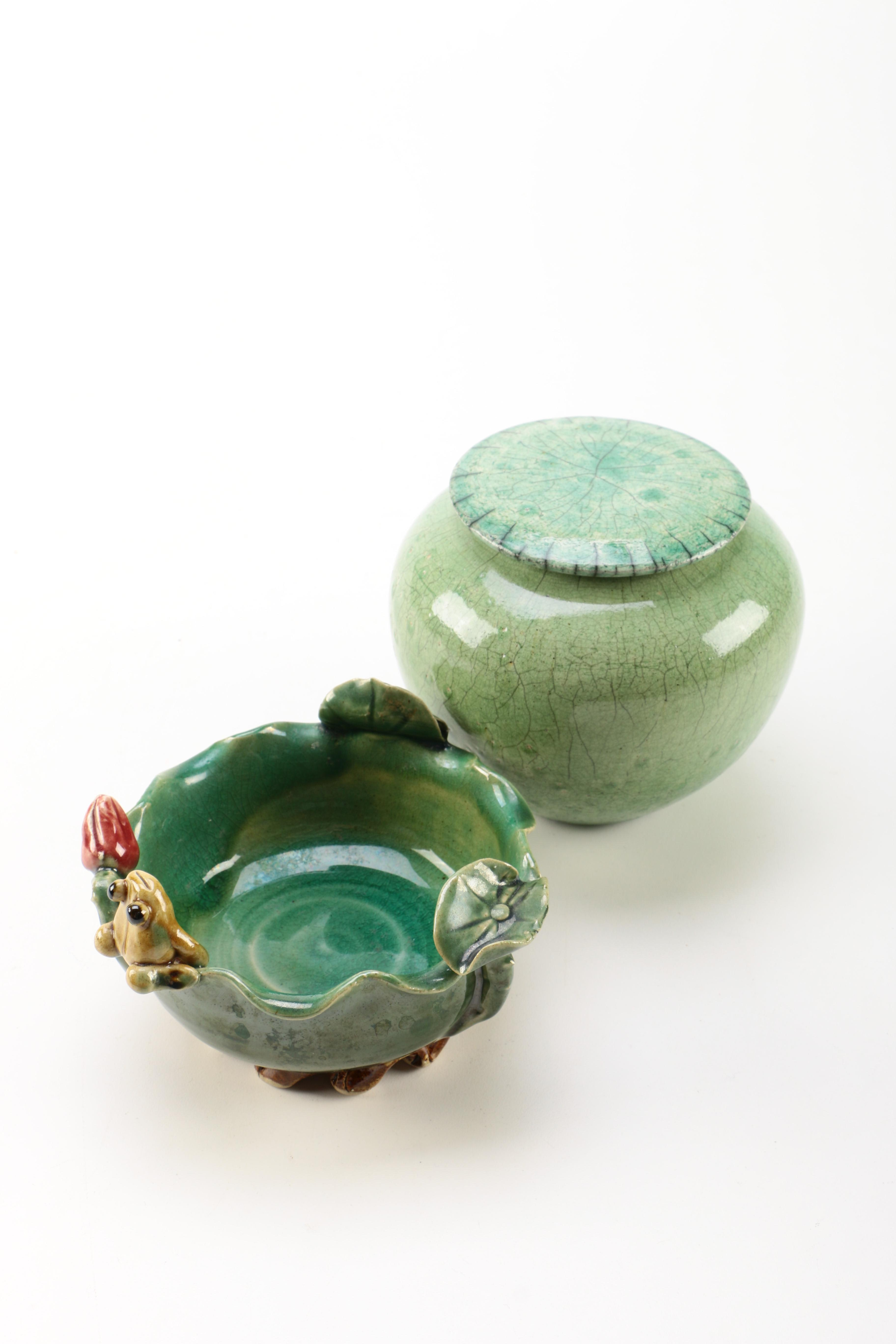 Two Asian Inspired Ceramic Vessels