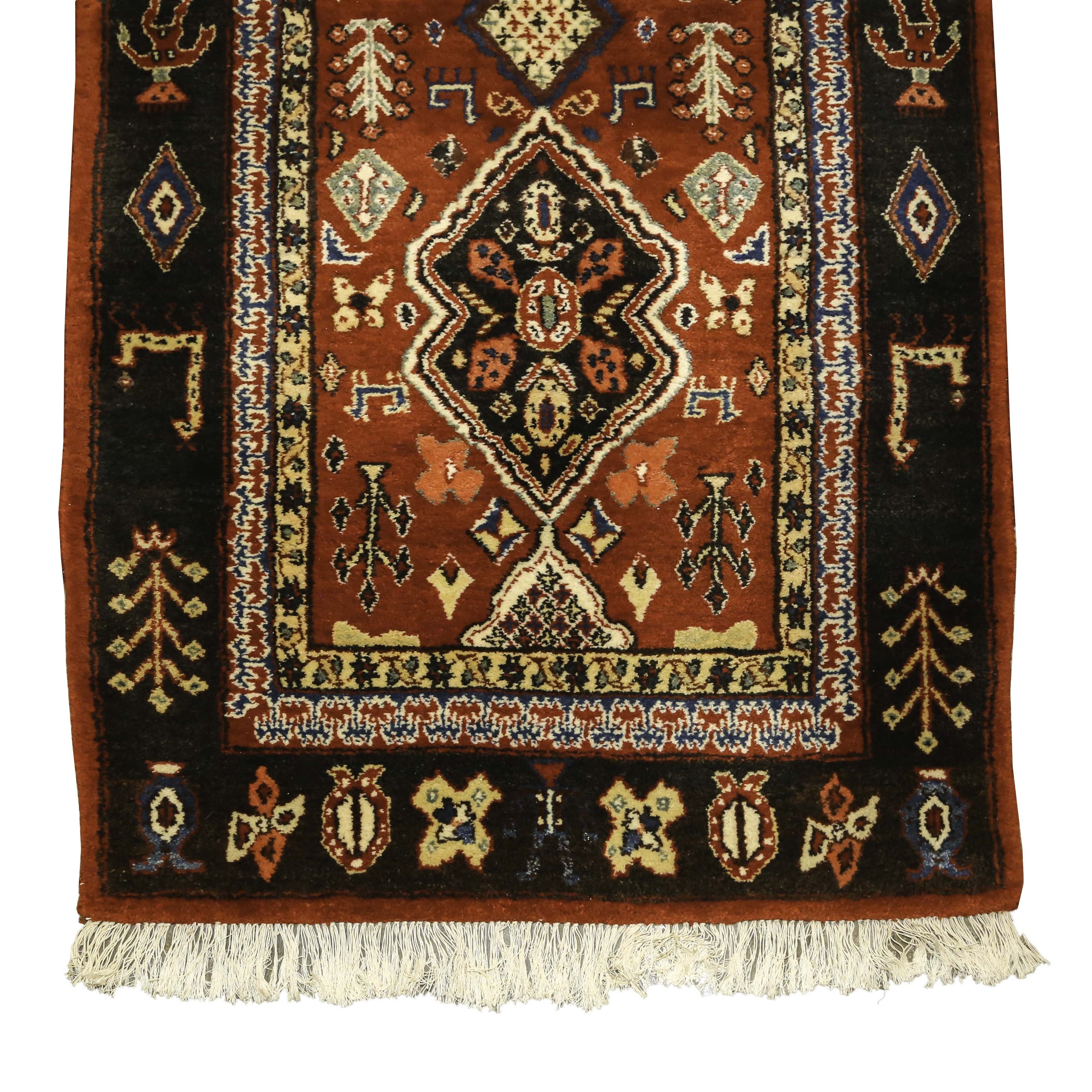 Hand-Knotted Indo-Persian Shirvan-Style Wool Hall Runner