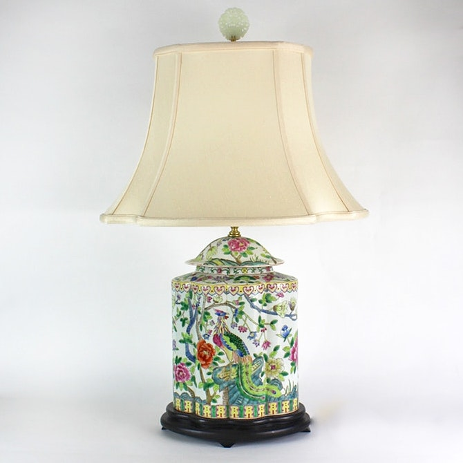Chinese Ceramic Lamp with Bowenite Finial