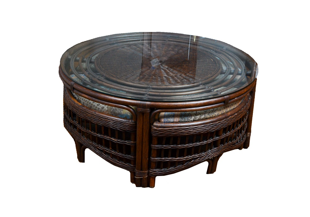 Round Dark Stained Wicker Glass Top Coffee Table and Ottomans