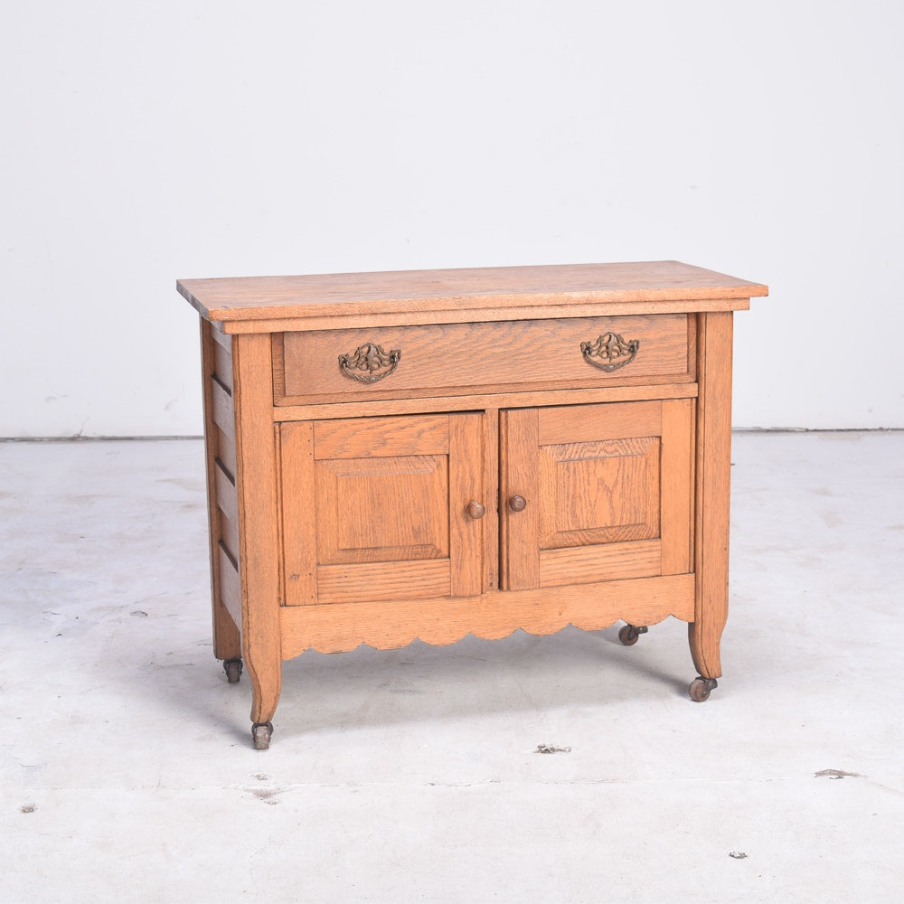 Antique French Provincial Style Oak Washstand with Knapp Joints
