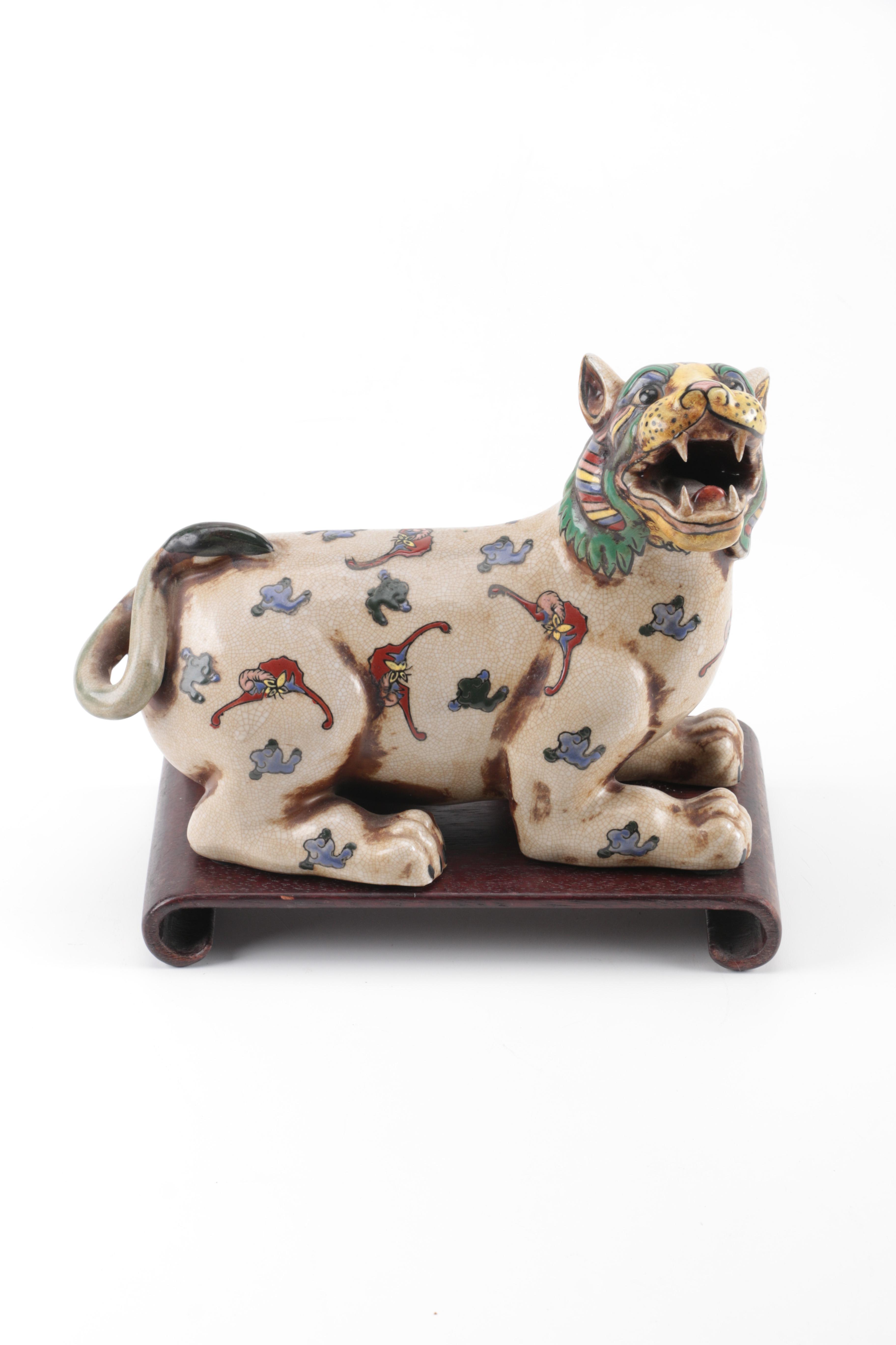 Chinese Colorful Ceramic Lion Figurine