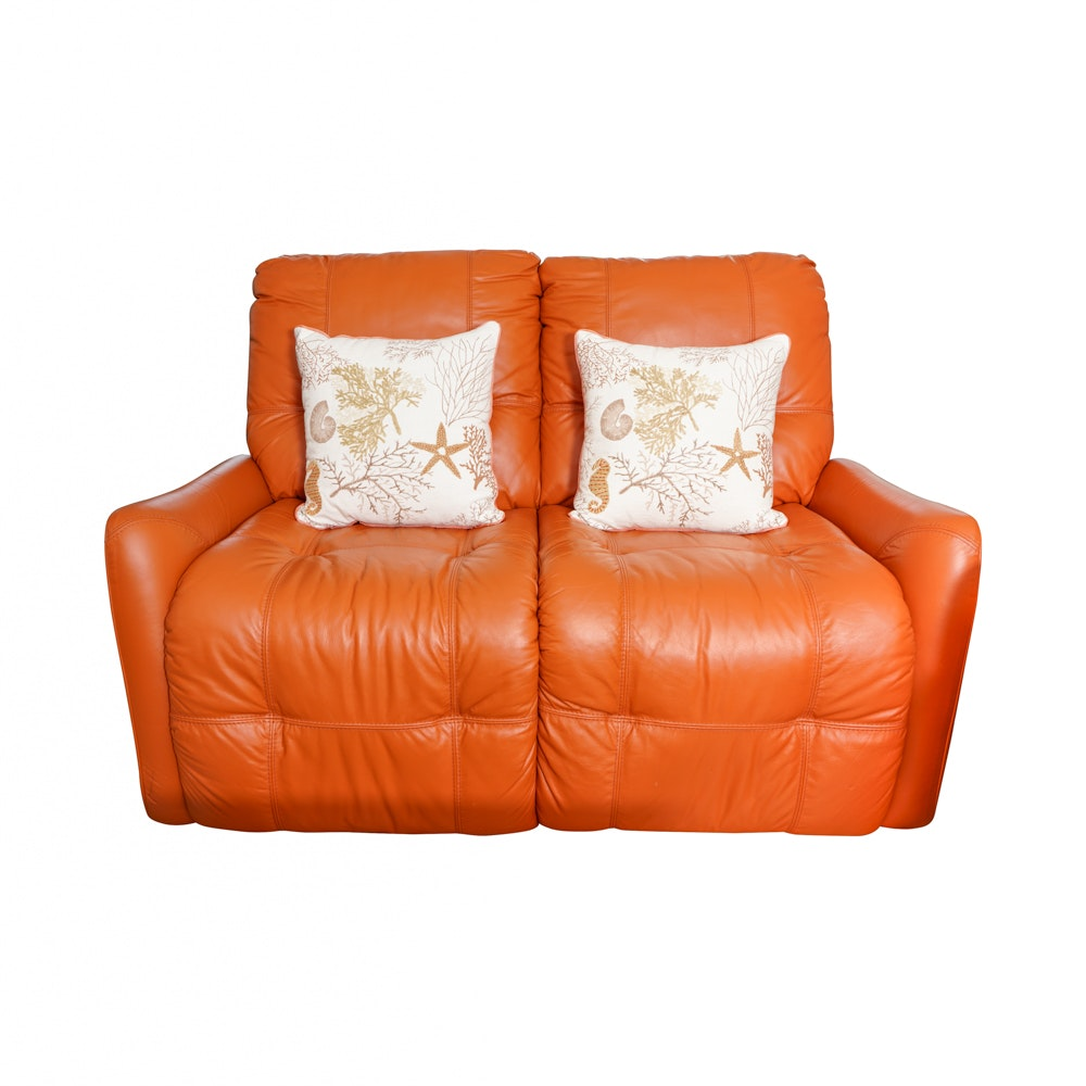 Orange Leather Electric Reclining Love Seat