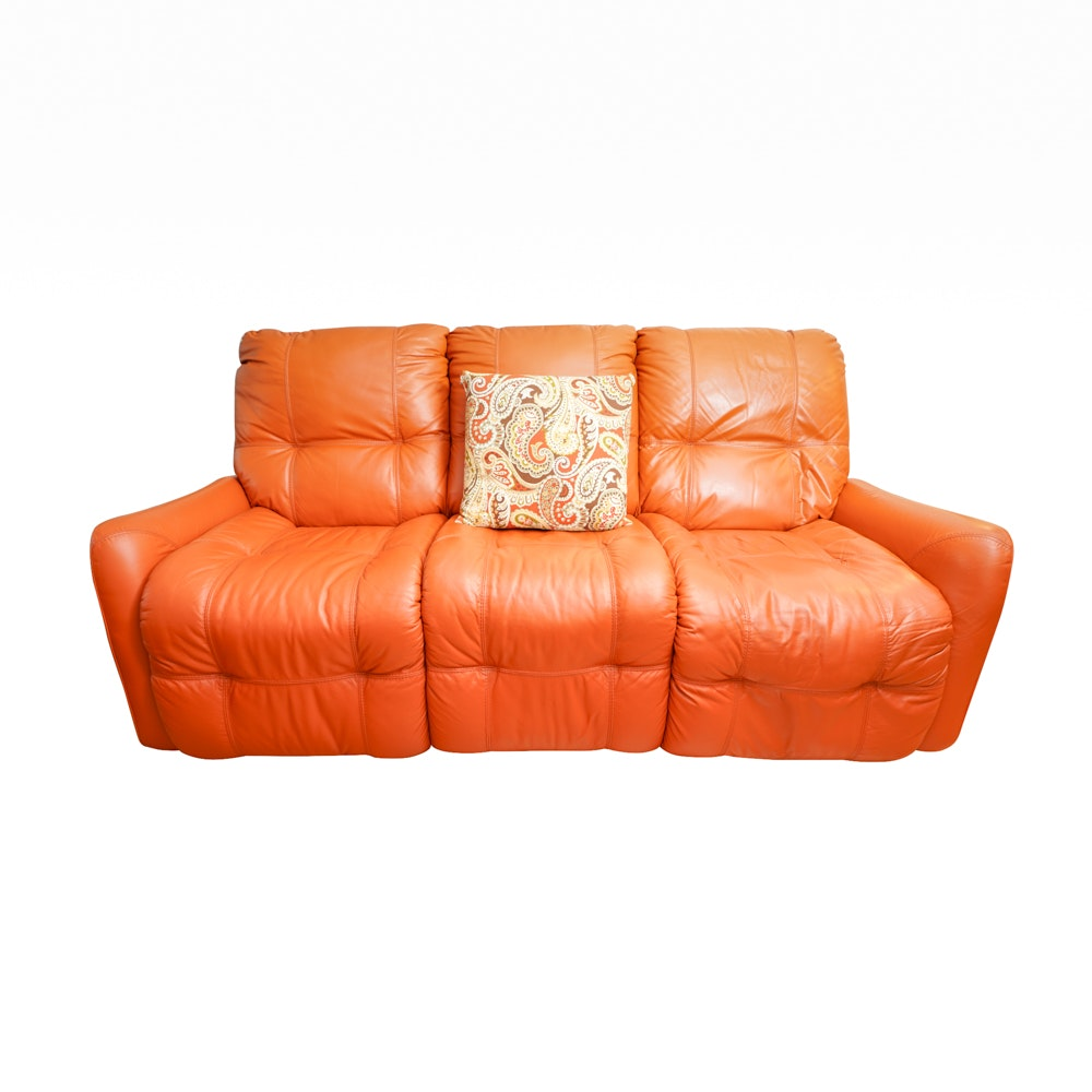 Orange Leather Electric Reclining Sofa
