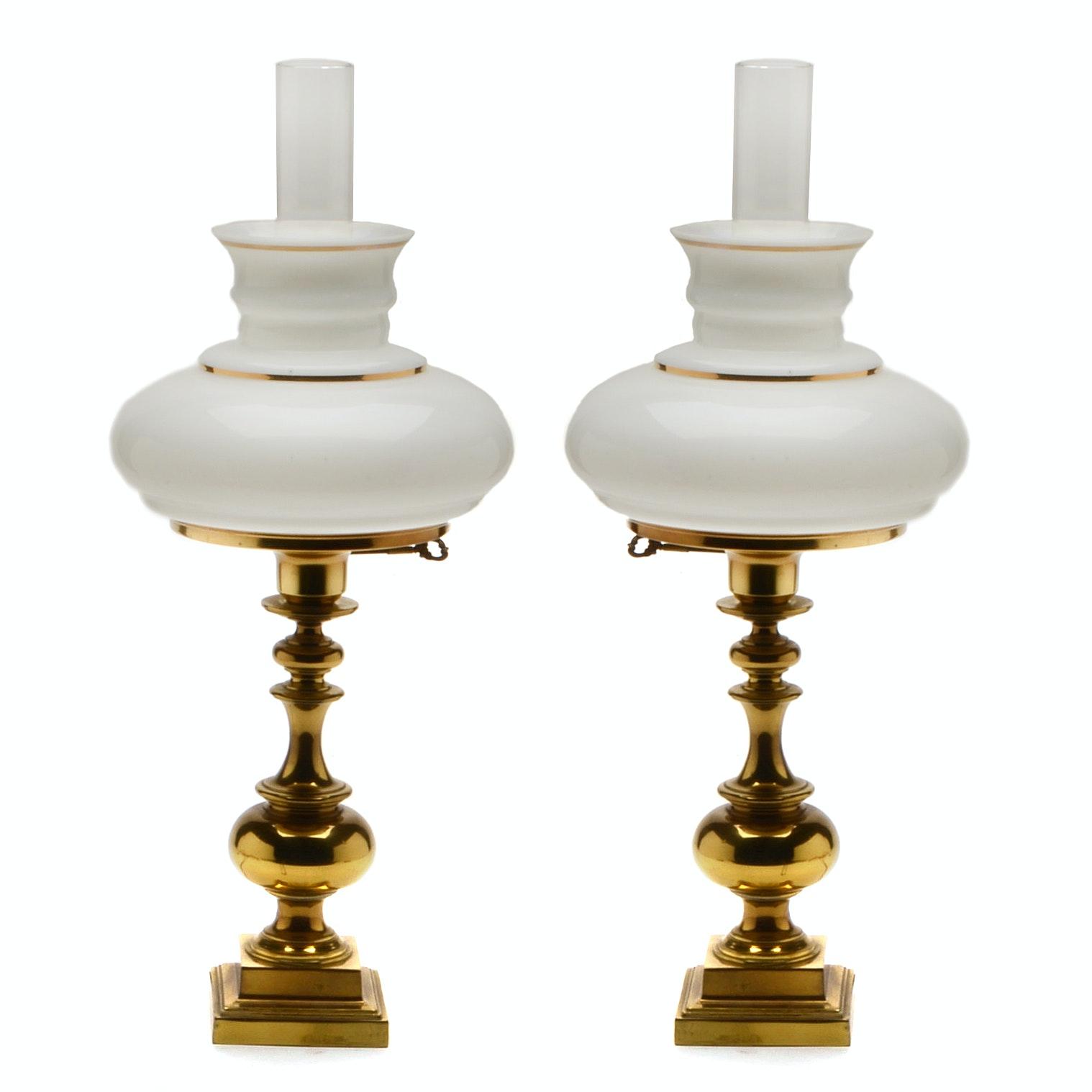Brass Tone Hurricane Lamps