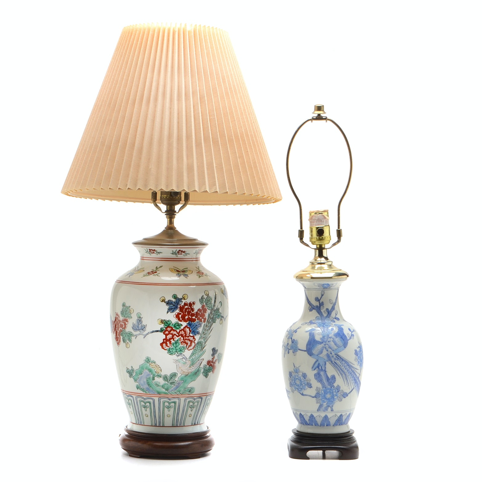 Asian Inspired Hand-Painted Porcelain Lamps