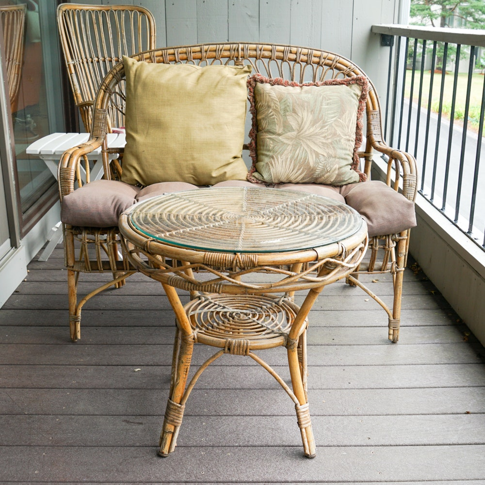 Bamboo and Rattan Loveseat and Side Table