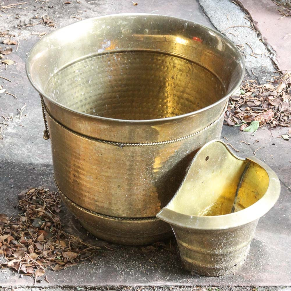 Brass Planters and Wall Pocket