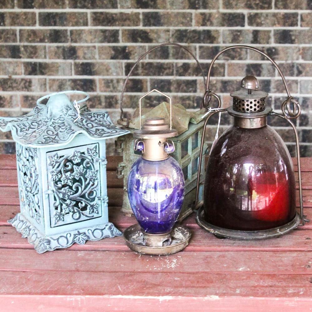 Group of Lanterns and Bird Feeder