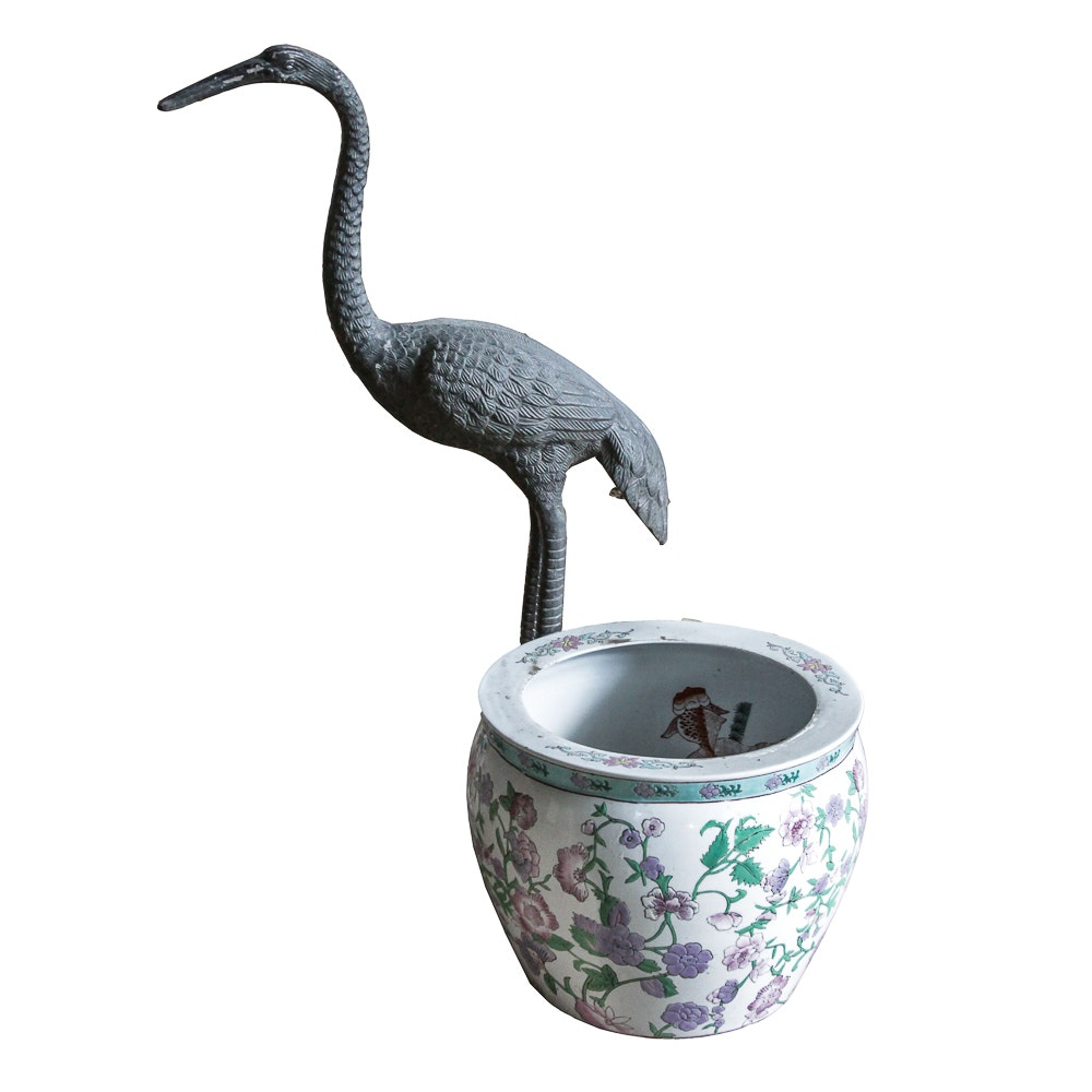 Crane Yard Sculpture and Chinese Ceramic Planter