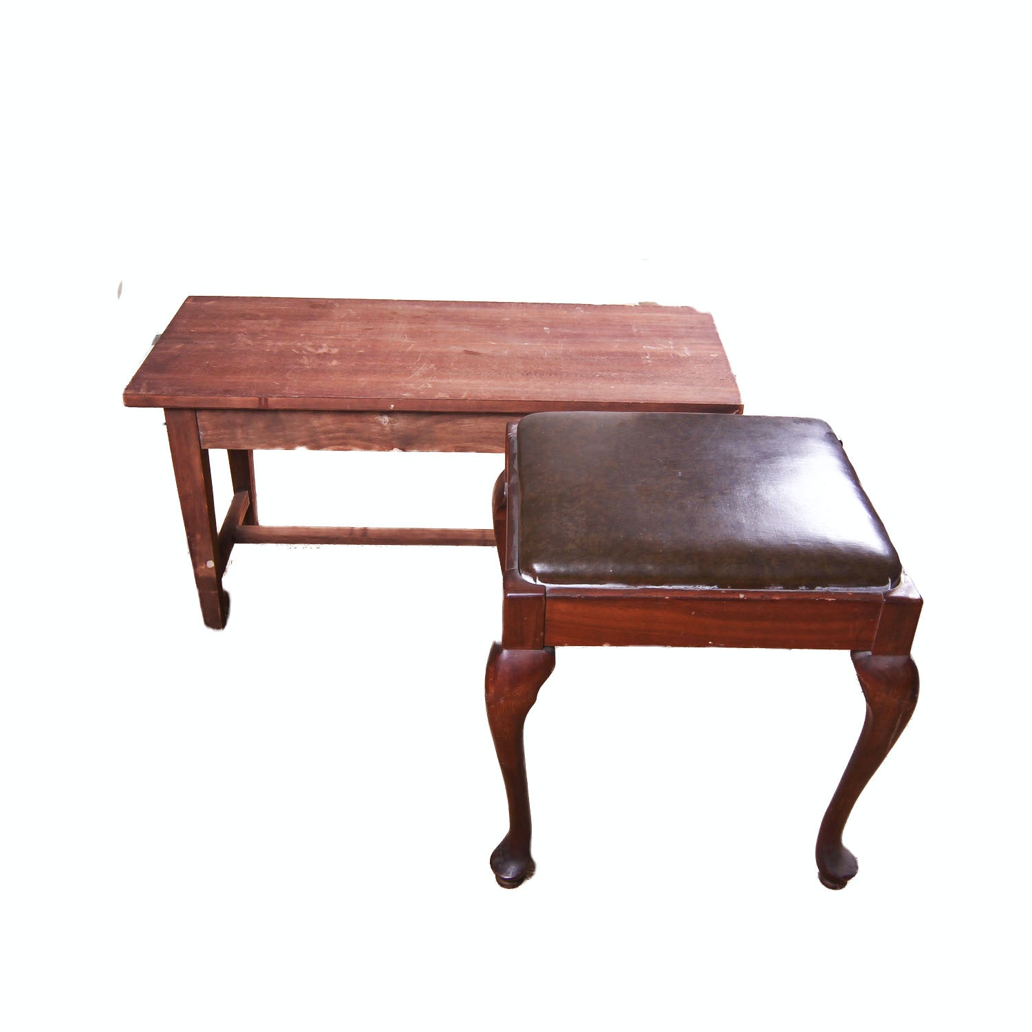Queen Anne Style Stool and Wood Piano Bench