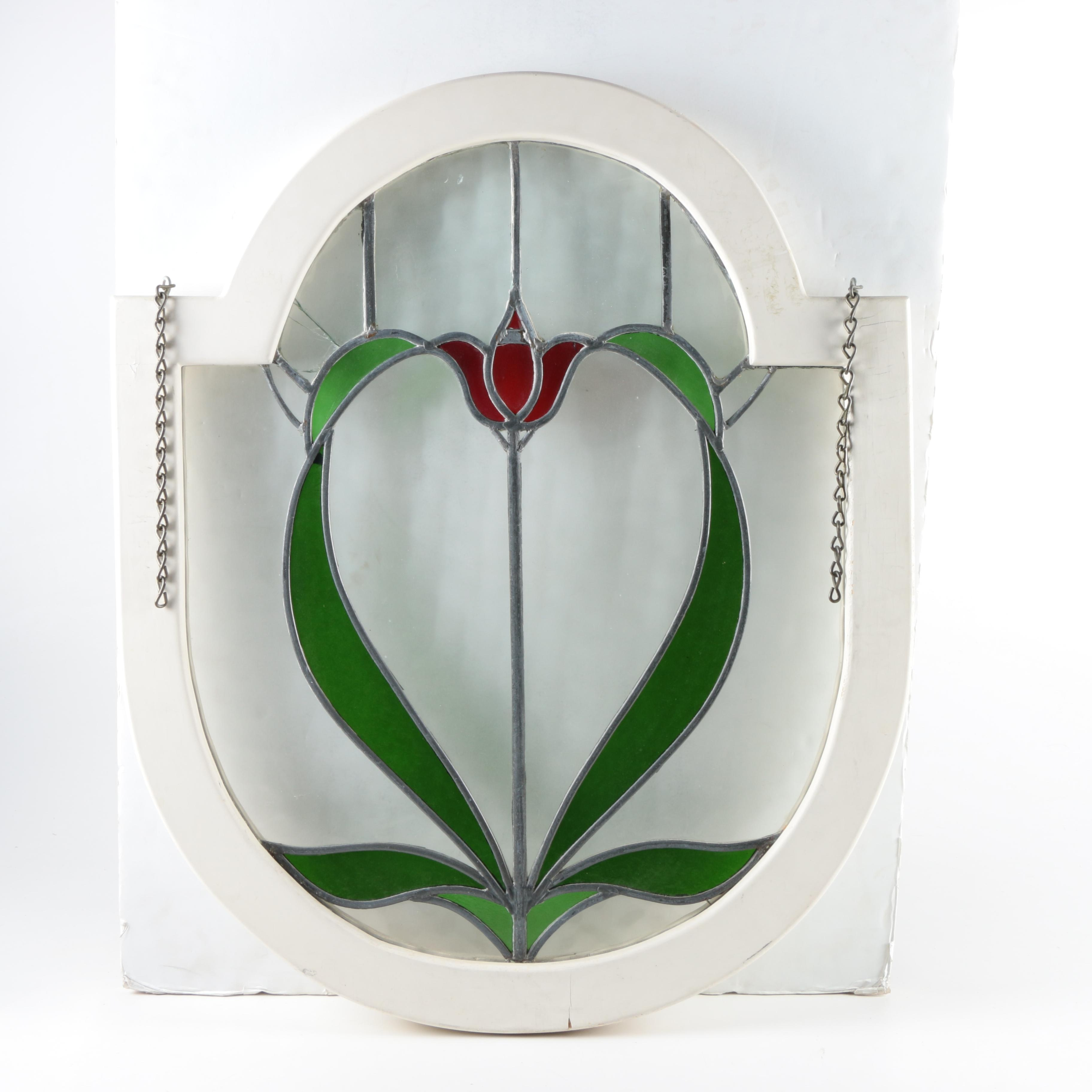 Tulip Arts and Crafts Stained Glass Window