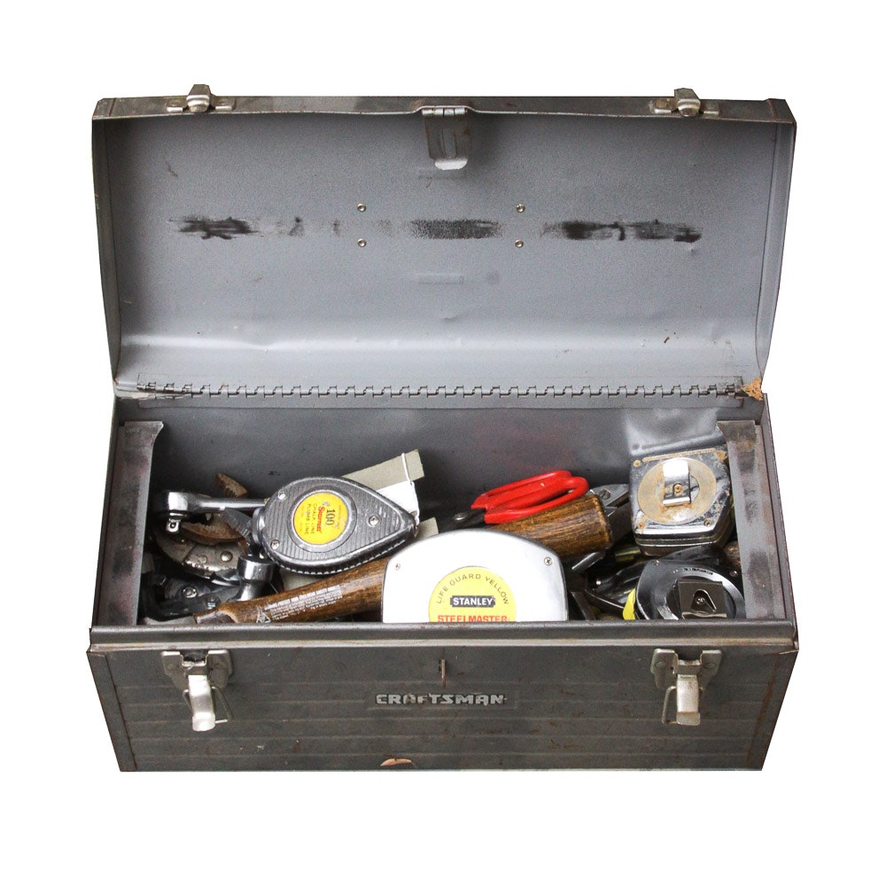 Craftsmen Metal Tool Box with Assorted Tools