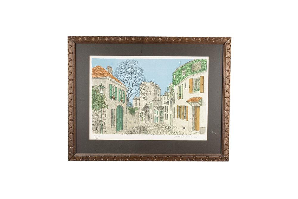 Lithograph Print on Paper of a Cobbled Street