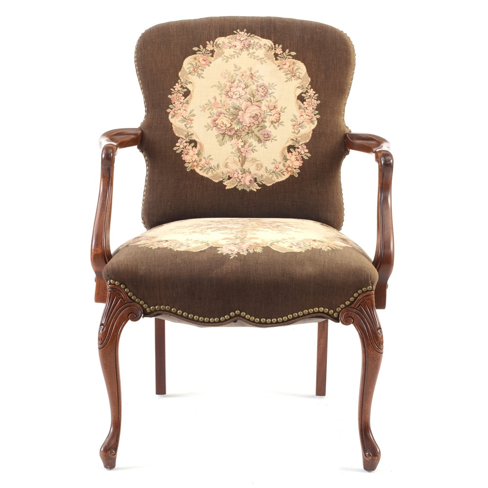 Tapestry Upholstered Georgian Style Arm Chair