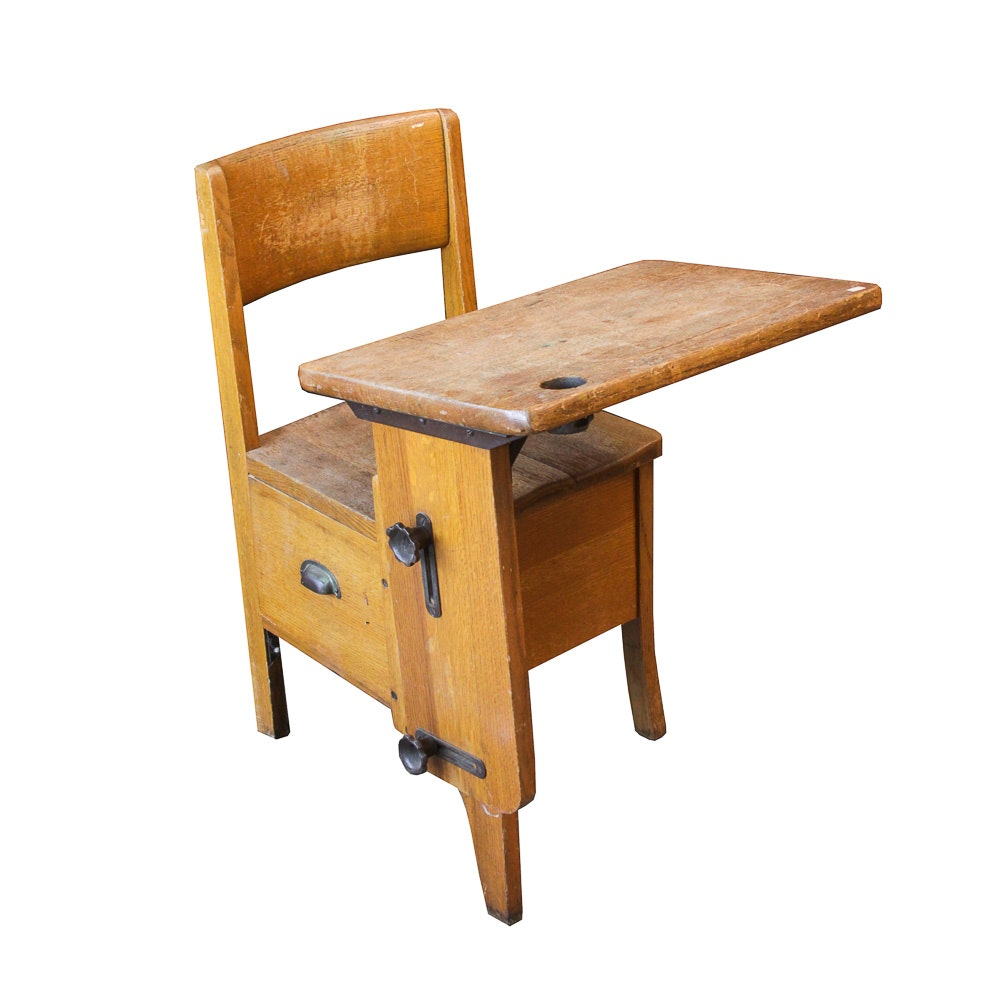 Antique Mixed Wood School Desk