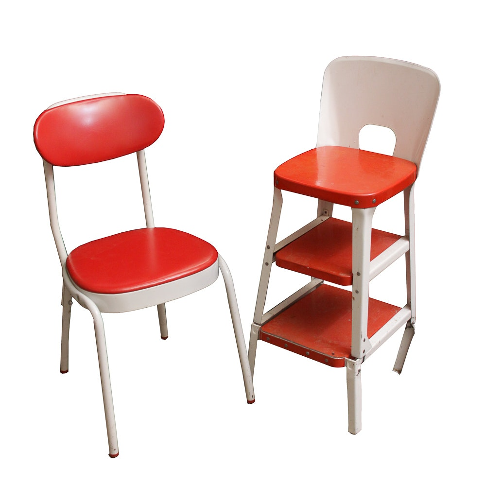 Mid-Century Step Chair by Cosco and Side Chair by Simplex