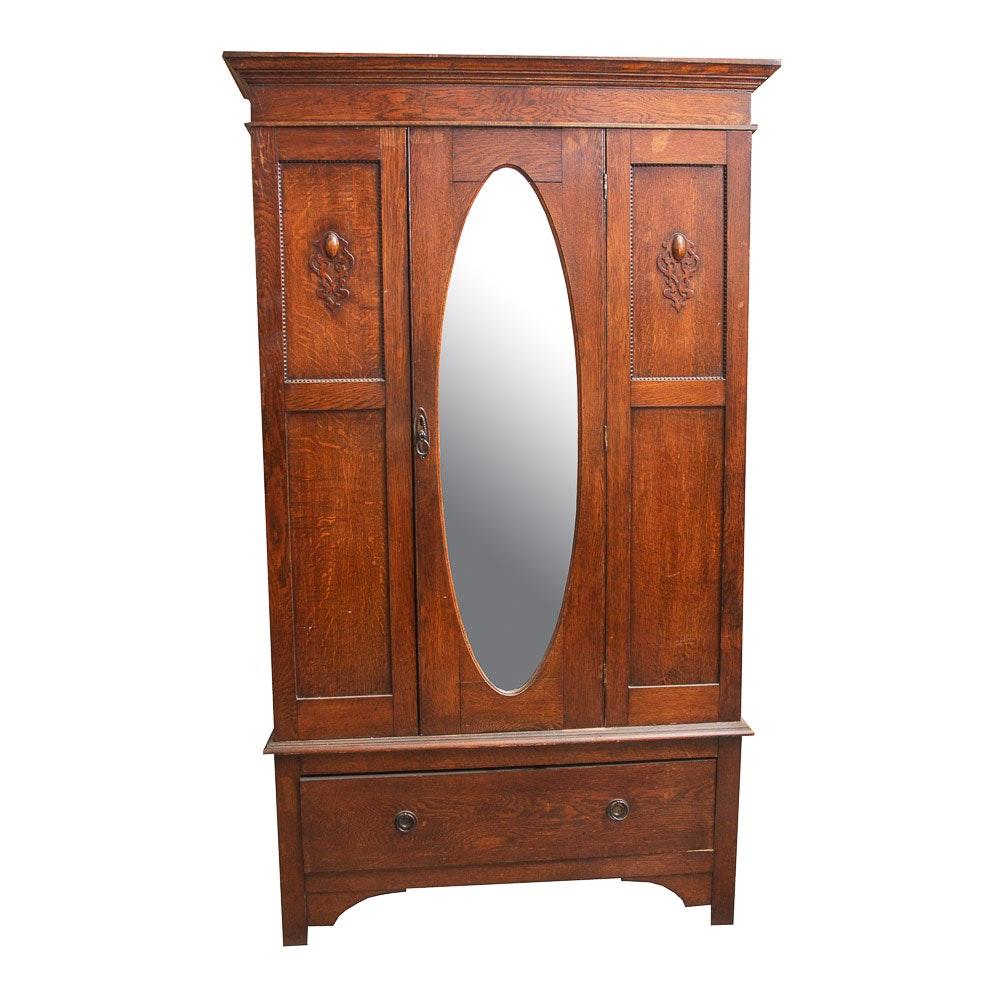 Antique Victorian Style Oak Wardrobe