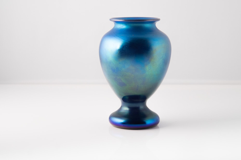 1988 Orient & Flume Blue Glass Vase