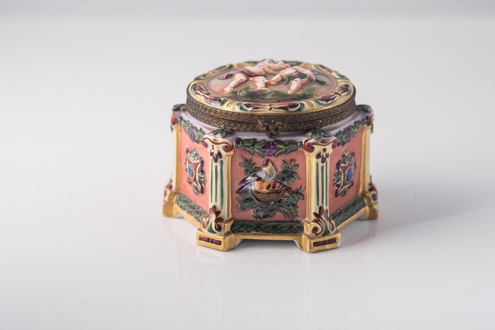 Sandizell Hoffner &Co German Capodimote Cherub Trinket Box
