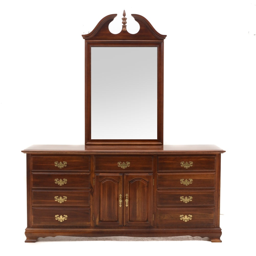 Colonial Style Cherry Triple Dresser With Mirror