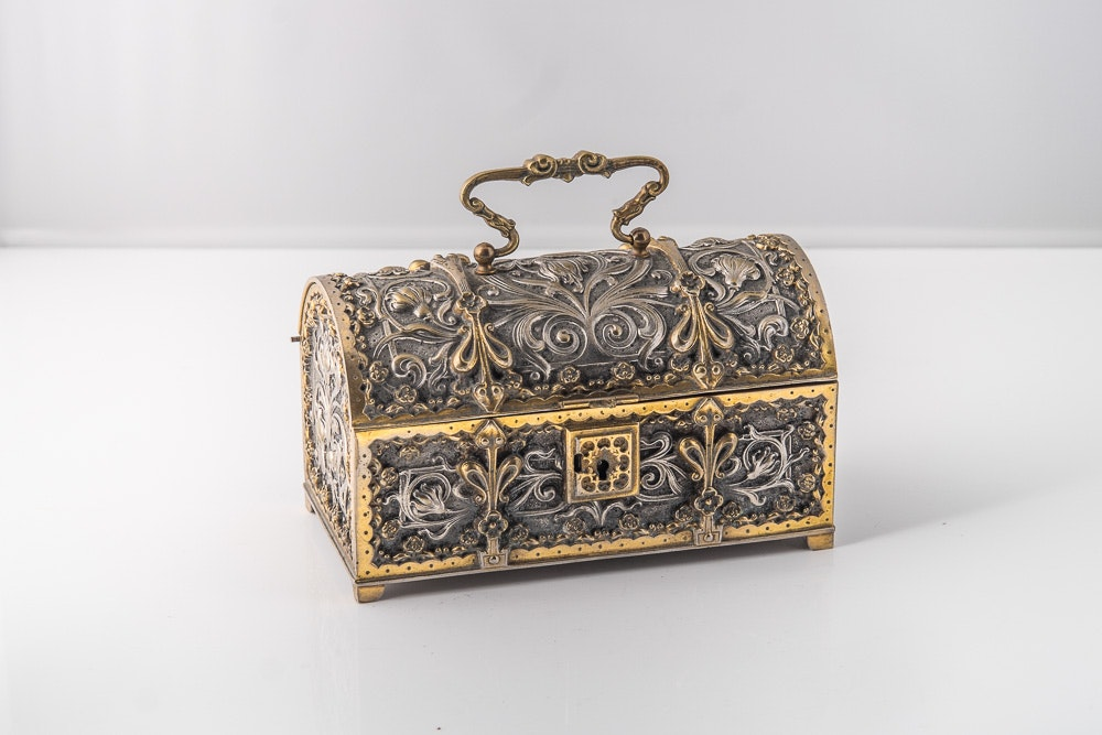 Antique Silver-Plated Jewelry Casket