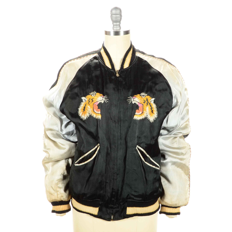 Vintage Embroidered Silk Varsity Jacket
