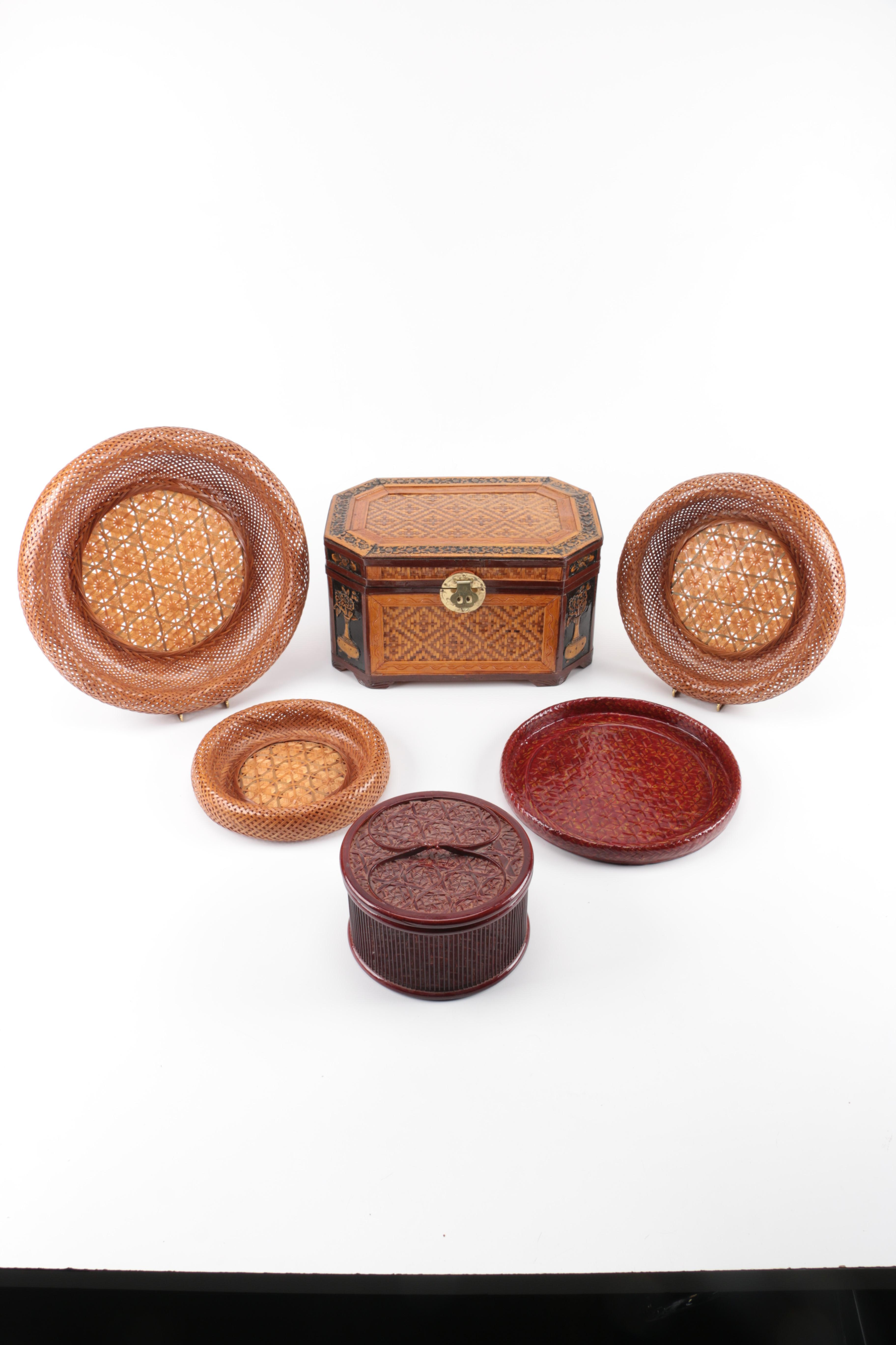 Brown Wicker Trays and Boxes