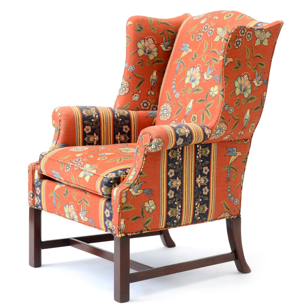Hickory Chair Company Upholstered Wing Back Armchair