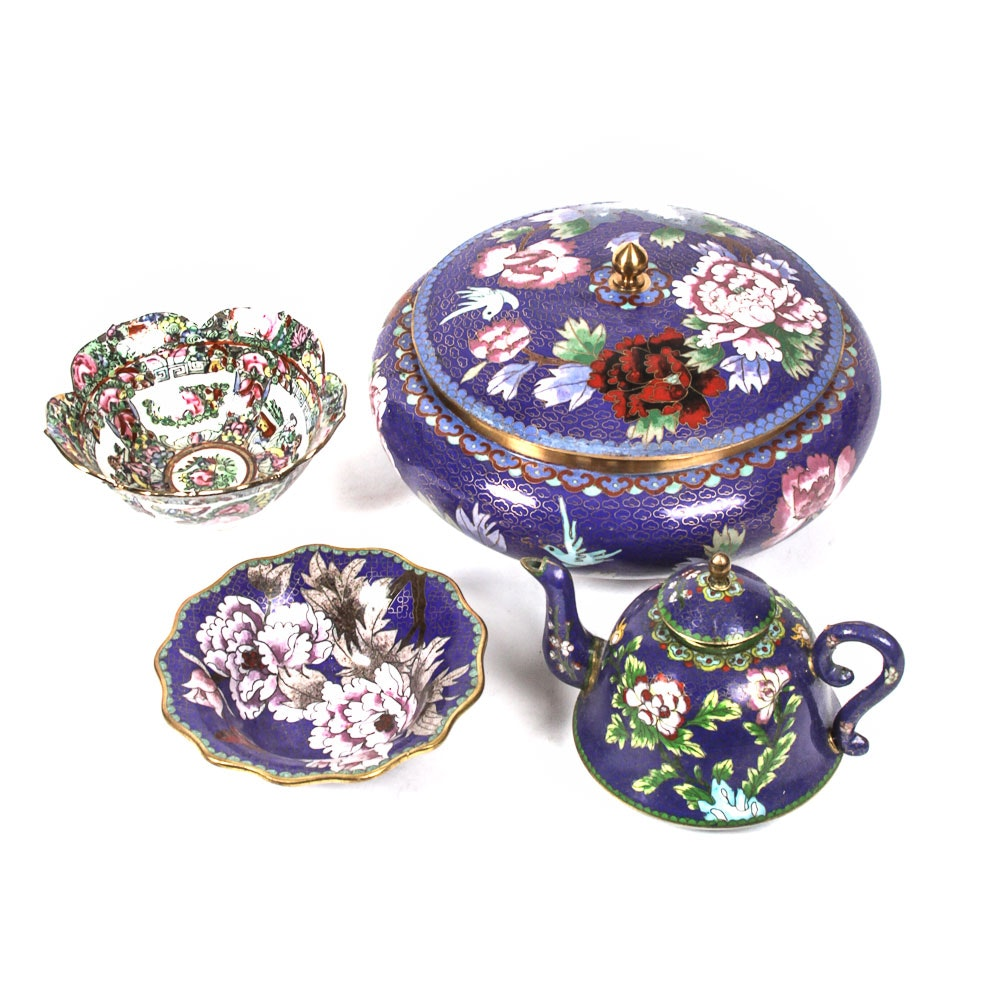 Chinese Cloisonné Teapot and More